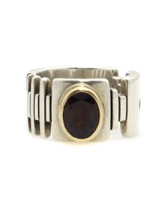 Charles Ortiz (b. 1970) - San Felipe Contemporary Garnet, Gold, and Sterling Silver Ring, size 5.75 (J13112-CO)