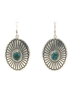 "Lee Yazzie (b. 1946) - Navajo Lone Mountain Turquoise and Silver Overlay Hook Earrings c. 2000s, 2"" x 1.125"" (J13125)"