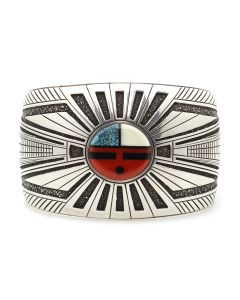Lee Yazzie (b. 1946) - Navajo Multi-Stone Inlay and Silver Overlay Bracelet with Sunface Kachina Design c. 2000s, size 6.5 (J13126)