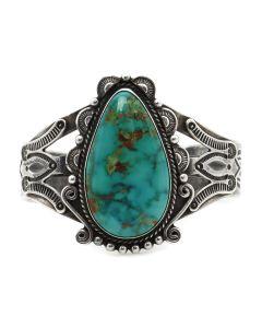 Frank Peshlakai (1903-1965) - Navajo Blue Gem Turquoise and Silver Bracelet with Stamped Design c. 1940s, size 7 (J13127)