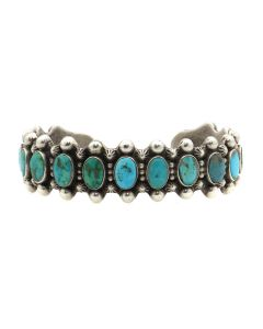 Navajo Turquoise and Silver Bracelet with Row Design c. 1930s, size 6.75 (J13129)
