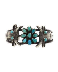 Juan de Dios (1882-1944) - Zuni Turquoise and Silver Bracelet c. 1930s, size 6.5 (J13130)