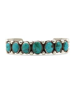 Morris Robinson (1901-1984) - Hopi Turquoise and Silver Bracelet with Stamped Designs c. 1940s, size 6.75 (J13135)