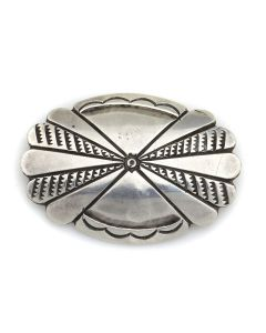 "Navajo Guild Silver Pin with Stamped Design c. 1940s, 1.125"" x 1.625"" (J13157)"