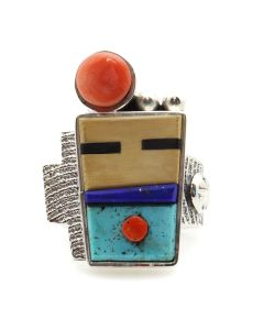 Roy Talahaftewa - Hopi Contemporary Multi-Stone Inlay and Sterling Silver Sandcast Ring with Kachina Design, size 8.25 (J13160)