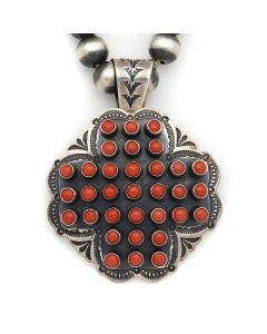 "Daniel (Sunshine) Reeves (b. 1964) - Navajo Coral Cluster and Sterling Silver Beaded Necklace with Stamped Designs c. 2010, 19"" length (J13164)"