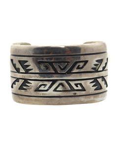 Tommy Singer (1940-2014) - Navajo Silver Overlay Bracelet c. 1970s, size 6.75 (J13166)