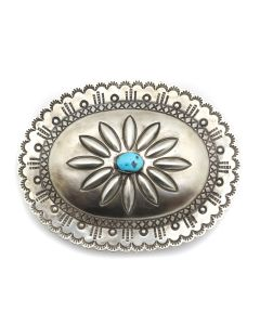 "Navajo Sleeping Beauty Turquoise and Silver Belt Buckle with Stamped Design c. 1950-60s, 3.5"" x 4.25"" (J13169)"