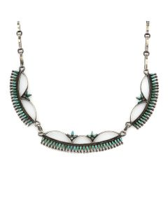 "Bonnie and John Quam - Zuni Petit Point Turquoise and Silver Necklace c. 1960s, 17.5"" length (J13175)"