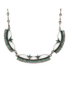 "Bonnie and John Quam - Zuni Petit Point Turquoise and Silver Necklace c. 1960s, 17.5"" length (J13175)"