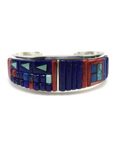 Timmy Yazzie - Navajo/San Felipe Contemporary Multi-Stone Inlay and Sterling Silver Bracelet, size 6.375 (J13176)