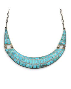 "Zuni Turquoise Channel Inlay and Silver Necklace c. 1940-50s, 16"" length (J13181)"