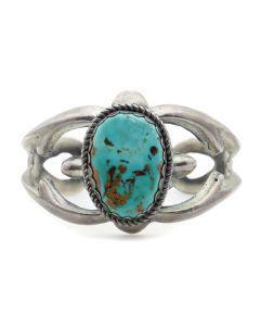 Minnie Adakai - Navajo Turquoise and Silver Sandcast Bracelet c. 1950-60s, size 6.375 (J13187)