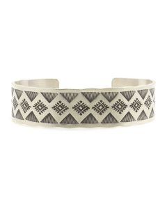 Roland Begay - Navajo Contemporary Sterling Silver Bracelet with Stamped Design, size 7 (J13214)