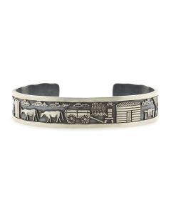 Roland Begay - Navajo Contemporary Sterling Silver Storyteller Bracelet with Stamped Design, size 6.75 (J13216)