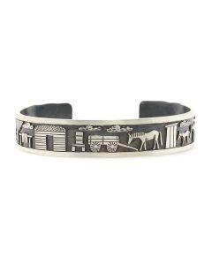 Roland Begay - Navajo Contemporary Sterling Silver Storyteller Bracelet with Stamped Design, size 6.75 (J13217)
