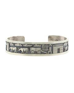 Roland Begay - Navajo Contemporary Sterling Silver Storyteller Bracelet with Stamped Design, size 6.5 (J13219)