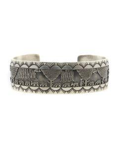 Roland Begay - Navajo Contemporary Sterling Silver Storyteller Bracelet with Stamped Design, size 6.75 (J13221)