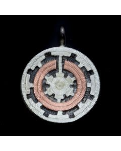 """Roland Begay - Navajo Contemporary Sterling Silver and Copper Overlay Wedding Basket Pendant, 0.875"""" x 0.75"""" (J13223)"""