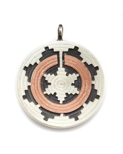 """Roland Begay - Navajo Contemporary Sterling Silver and Copper Overlay Wedding Basket Pendant, 1.25"""" x 1"""" (J13224)"""
