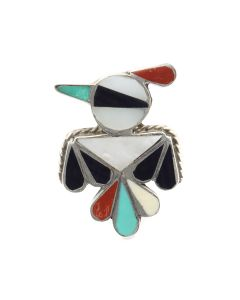 Zuni Multi-Stone Channel Inlay and Silver Ring with Thunderbird Design c. 1950s, size 6 (J13236)