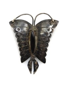 """Navajo Onyx and Silver Butterfly Pin with Stamped Design c. 1930-40s, 2.25"""" x 2"""" (J13251)"""