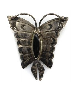 "Navajo Onyx and Silver Butterfly Pin with Stamped Design c. 1930-40s, 1.75"" x 1.625"" (J13252)"