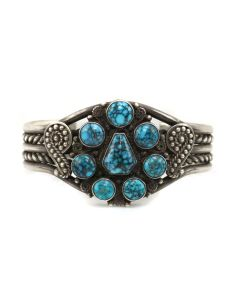 Navajo Lone Mountain Turquoise and Silver Bracelet with Rope Design c. 1940s, 6.75 (J13255-CO)