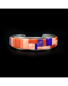 Vernon Haskie - Navajo Contemporary Multi-Stone Cobble Inlay and Sterling Silver Bracelet, size 5.75 (J13256-CO)