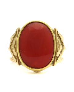 Mark Sublette Collection - Featuring Sam Patania - Coral and 18K Gold Ring, size 7 (J13271)