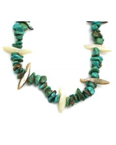 "Zuni Turquoise Nugget, Mother of Pearl, and Spiny Oyster Fetish Necklace c. 1950s, 22"" length (J13275)"
