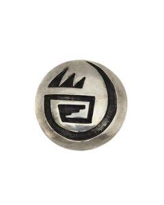 "Leroy Kewanyama (1922-1997) - Hopi Guild Silver Overlay Pin c. 1960s, 1.5"" diameter (J13290)"