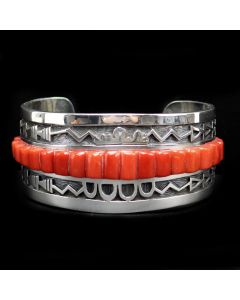 Timmy Yazzie - Navajo/San Felipe Contemporary Coral and Sterling Silver Overlay Bracelet, size 7 (J13297)