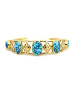 Mark Sublette Collection - Featuring Sam Patania - Old Patania Black Matrix #8 Turquoise and 18K Gold Bracelet, size 6.5 (J13298)
