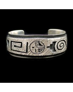 Victor Lee Masayesva (b. 1962) - Hopi Silver Overlay Bracelet with Kachina Design c. 2000s, size 6.25 (J13303)
