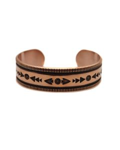 Kee Nataani - Navajo Contemporary Copper Bracelet with Stamped Design, size 7.25 (J13315)