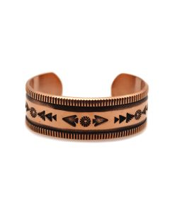 Kee Nataani - Navajo Contemporary Copper Bracelet with Stamped Design, size 5.75 (J13321)