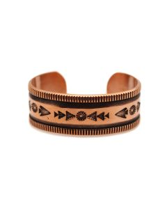Kee Nataani - Navajo Contemporary Copper Bracelet with Stamped Design, size 5.5 (J13322)