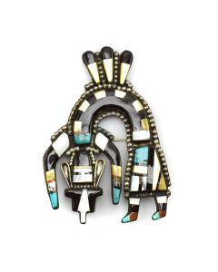 "Zuni Multi-Stone Inlay and Silver Rainbow God Pin c. 1950-60s, 4"" x 2.75"" (J13327)"