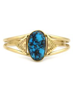 Mark Sublette Collection - Featuring Sam Patania - Morenci Turquoise and 18K Gold Bracelet, size 6.75 (J13331)