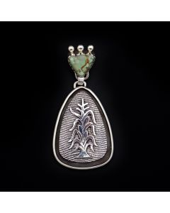 "Roy Talahaftewa - Hopi Contemporary Turquoise and and Sterling Silver Tufacast Overlay Pendant with Cornstalk Design, 1.625"" x 1.25"" (J13338)"
