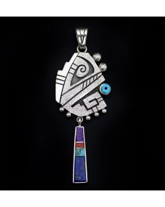 "Roy Talahaftewa - Hopi Contemporary Multi-Stone Channel Inlay and Sterling Silver Tufacast Overlay Pendant, 3.75"" x 1.375"" (J13339)"