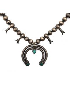 "Navajo Turquoise and Silver Child's Squash Blossom Necklace c. 1930s, 21"" length (J13357)"