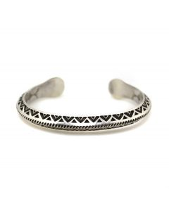 Kee Nataani - Navajo Contemporary Morenci Turquoise and Silver Bracelet with Stamped Design, size 7 (J13366)