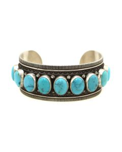 Kee Nataani - Navajo Contemporary Turquoise and Silver Bracelet Cuff, size 8.25 (J13370)