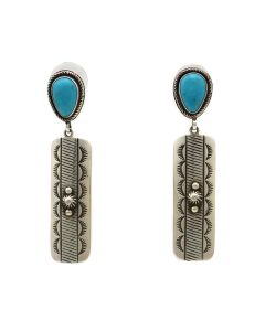 "Kee Nataani - Navajo Contemporary Turquoise and Silver Post Earrings with Stamped Design, 2.375"" x 0.5"" (J13387)"