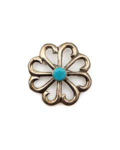 """Navajo Turquoise and Silver Sandcast Pin c. 1950-60s, 2"""" diameter (J13421)"""