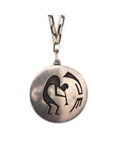 "Hopi Silver Overlay Pendant with Handmade Silver Chain c. 1960s, 30"" length, 1.75"" pendant (J13430) 1"
