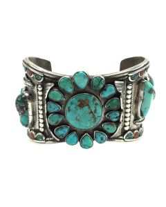 """Navajo Turquoise, Coral, and Silver Bracelet Cuff with Feather Design, size 7.25"""" (J13437)"""