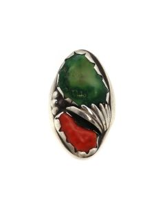 Navajo Turquoise, Coral, and Silver Ring c. 1940-50s, size 11 (J13439)